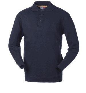 Felpa Blu Con Colletto A Polo In Cotone Peso Medio 280gr