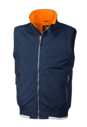 Gilet Blu Scuro con Collo Alto Rip-Stop + Interno In Micro Pile